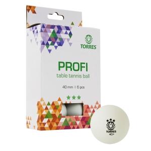Мяч для настольного тенниса TORRES Profi 3*, арт. TT21012, диам. 40+мм, упак. 6 шт, белый