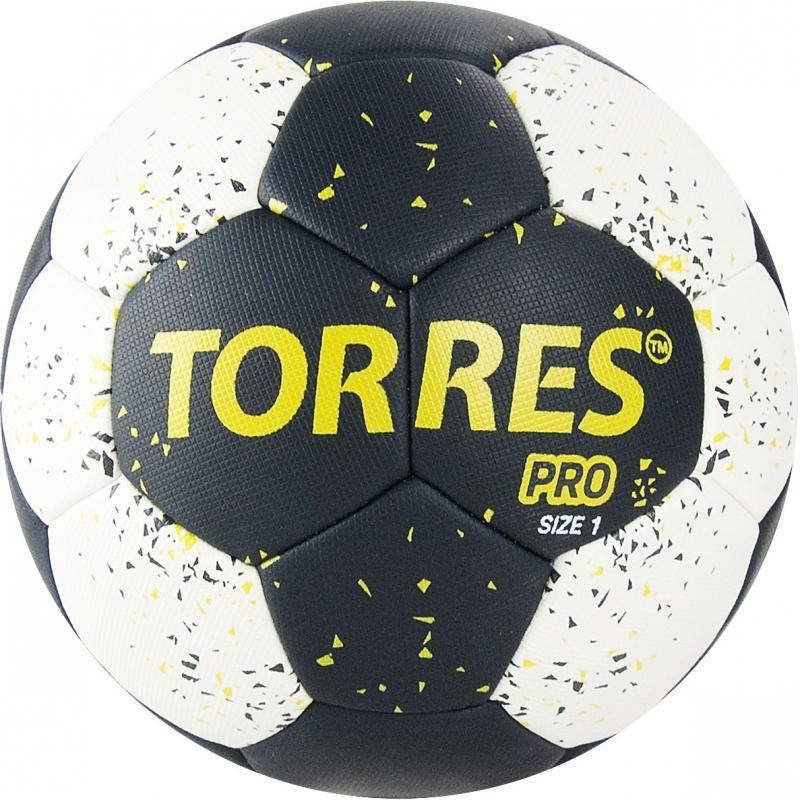Мяч гандбольный  TORRES PRO арт.H32161, р.1, ПУ, 4 подкл. слоя, черно-бел-желт