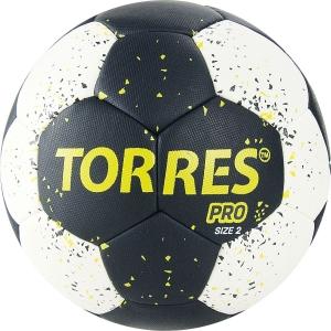 Мяч гандбольный  TORRES PRO арт.H32162, р.2, ПУ, 4 подкл. слоя, черно-бел-желт