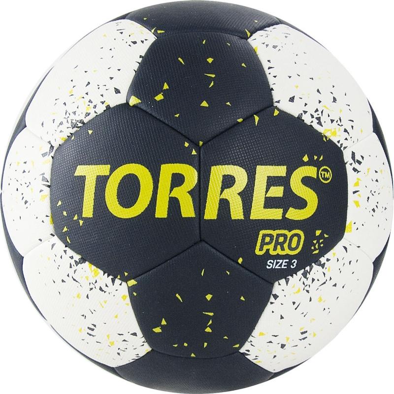Мяч гандбольный  TORRES PRO арт.H32163, р.3, ПУ, 4 подкл. слоя, черно-бел-желт
