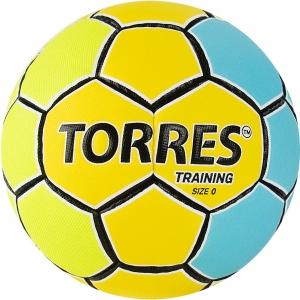 Мяч гандбольный  TORRES Training арт.H32150, р.0, ПУ, 4 подкл. слоя, желто-голубой