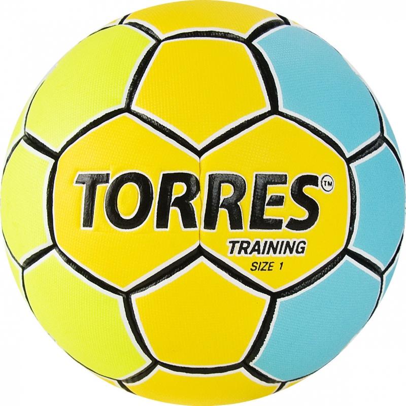 Мяч гандбольный  TORRES Training арт.H32151, р.1, ПУ, 4 подкл. слоя, желто-голубой