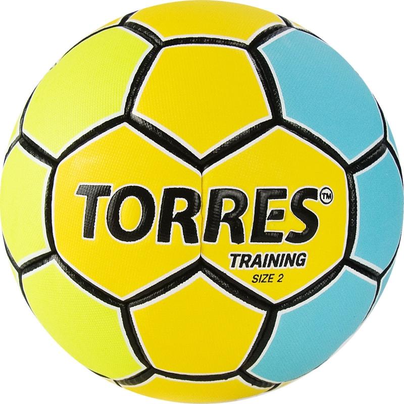 Мяч гандбольный  TORRES Training арт.H32152, р.2, ПУ, 4 подкл. слоя, желто-голубой