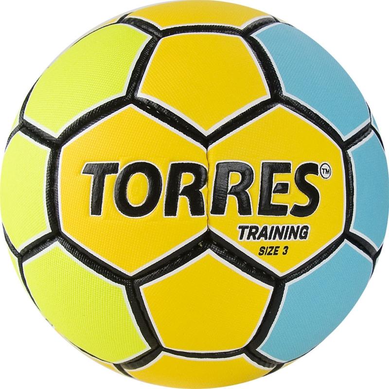 Мяч гандбольный  TORRES Training арт.H32153, р.3, ПУ, 4 подкл. слоя, желто-голубой