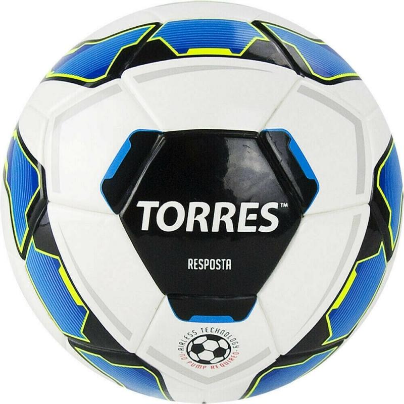 Мяч футбольный сув. TORRES Resposta Mini арт.FV321051, д.16 см, ТПУ, термосш, Airless, бело-сине-черный