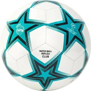Мяч футбольный  ADIDAS UCL RM Club Ps арт. GU0204, р.5, 12 пан, ТПУ, машинная сшивка , бирюзово-бело-черный