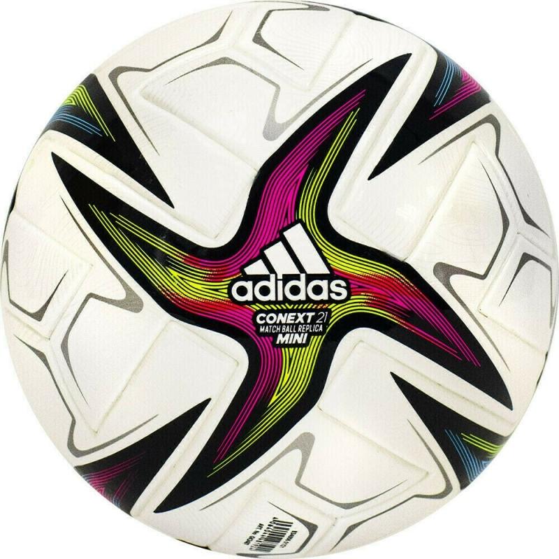 Мяч футбольный сув. ADIDAS Conext 21 Mini ,арт.GK3487, р.1, ТПУ, 6пан, термосш, бел-желт-красн-син-зел