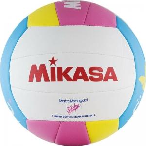 Мяч для пляжного волейбола  MIKASA VMT5 ,р.5, 18 пан., мягкая синтетическая кожа (ТПУ), маш. сш., бело-розов-желто-голуб