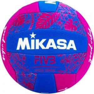 Мяч для пляжного волейбола  MIKASA BV354TV-GV-BP , синтетическая кожа (ТПЕ),машинная сшивка ,18 панелей, бутиловая камера , сине-розов