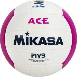 Мяч для пляжного волейбола  MIKASA VXS-ACE3 синтетическая кожа (ТПУ), маш. сш, р. 5, бело-розовый