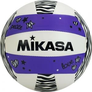 Мяч для пляжного волейбола  MIKASA VXS-ZB-PUR синтетическая кожа (ТПУ) , маш. сш., р. 5, бело-сиренево-черный