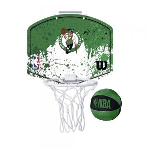 Набор для мини-баскетбола Wilson NBA Team Mini Hoop Boston, арт. WTBA1302BOS, щит с кольцом, мяч р.1