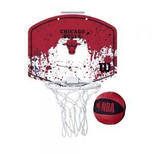 Набор для мини-баскетбола Wilson NBA Team Mini Hoop Chicago, арт.WTBA1302CHI, щит с кольцом, мяч р.1
