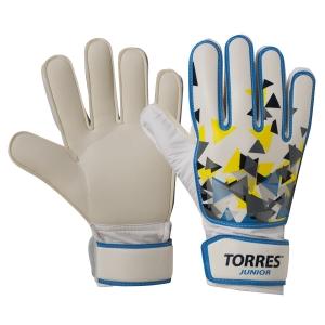 Перчатки вратарские  TORRES Jr. , арт.FG05212-5, р.5, 2 мм латекс, удл.манж.,бело-голуб-желтый