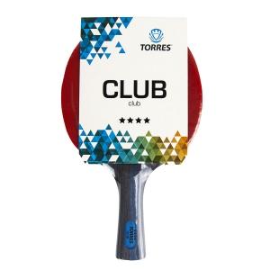 Ракетка для настольного тенниса TORRES Club 4*, арт.TT21008, для тренировок, накладка 2,0 мм, конич. ручка