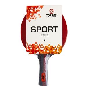 Ракетка для настольного тенниса TORRES Sport 1*, арт.TT21005, для любителей, накладка 1,5 мм, конич. ручка