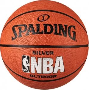 СЦ*Мяч баскетбольный  SPALDING NBA Silver Series Outdoor арт.83-014Z, р.5, резина, коричневый