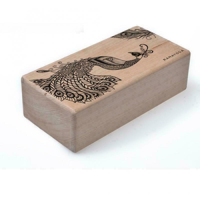 Кирпич для йоги с дизайном Павлин RamaYoga бежевый, 23x11x8 см, 1 кг