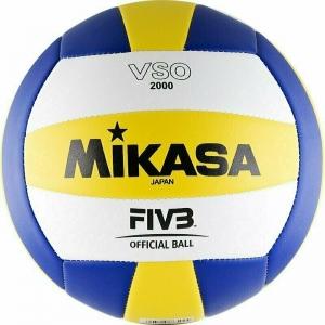СЦ*Мяч волейбольный  MIKASA VSO2000 , р.5, синтетическая кожа (ПВХ), маш. сшивка, бутиловая камера , бел-жел-син