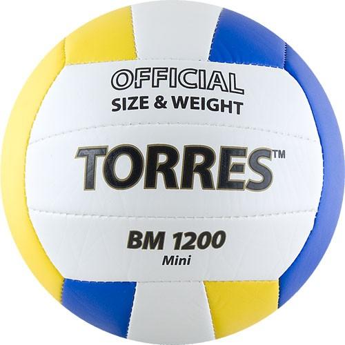 Мяч волейбольный сув. TORRES BM1200 Mini ,арт.V30031, р.1, диам. 15 см синт. кожа (ТПУ),маш.сш,бел-син-желт