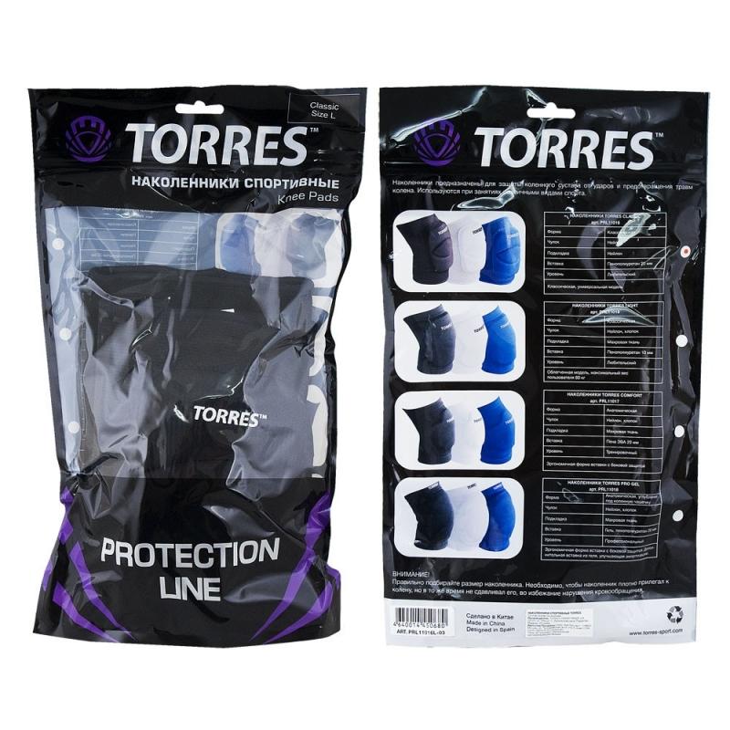 Наколенники спортивные TORRES Classic , черный, р.M, арт.PRL11016M-02, нейлон, ПУ