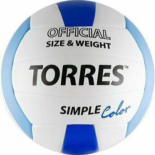 Мяч вол. TORRES Simple Color арт.V30115, р.5, синт.кожа (ТПУ), маш. сшивка, бут.камера,бел-гол-син