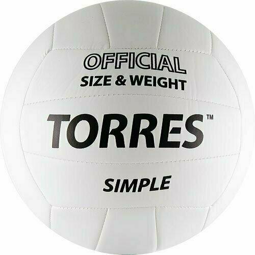 Мяч вол. TORRES Simple арт.V30105, р.5, синт.кожа (ТПУ), маш. сшивка, бут. камера, бело-черный