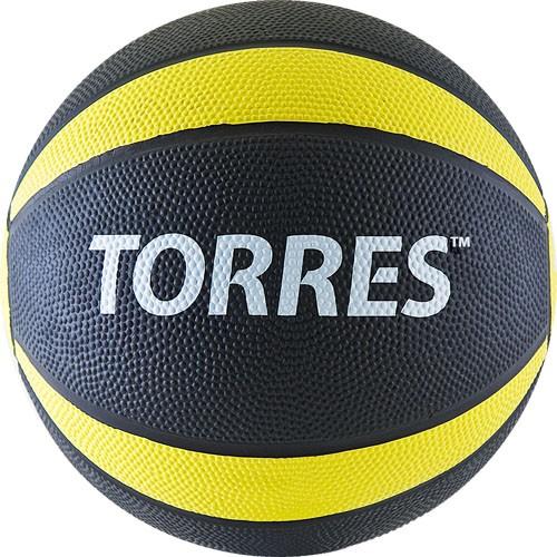 Медбол TORRES 1 кг , арт.AL00221, резина, диаметр 19,5 см, черно-желто-белый
