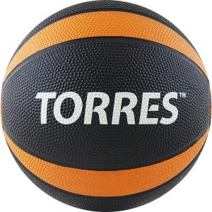 Медбол TORRES 2 кг , арт.AL00222, резина, диаметр 19,5 см, черно-оранжево-белый