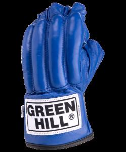 Перчатки снарядные ROYAL CMR-2076, шингарды, кожа, синие, Green Hill