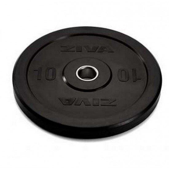 Диск бампированный ZIVA 10 кг серия Pro FЕ (резиновое покрытие) черный ZFT-BPRB-0678