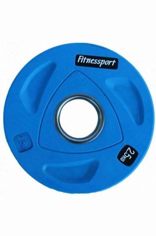 Диск олимпийский обрезиненный цветной Fitnessport 2.5 кг. RCP20