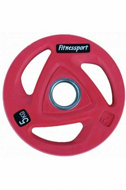 Диск олимпийский обрезиненный цветной Fitnessport 5 кг. RCP20