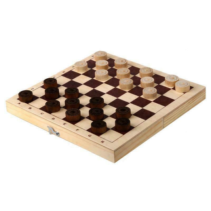 Настольная игра шашки D-2 деревянные с доской (23x11.5x4.5 см )