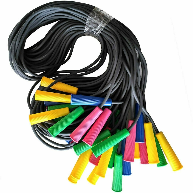 Скакалка 285 см. полнотелый резиновый шнур d-5 мм., ручки пластик
