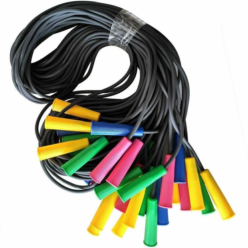 Скакалка 285 см. полнотелый резиновый шнур d-4 мм., ручки пластик