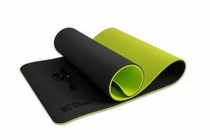 Коврик для йоги 10 мм двухслойный TPE черно-зеленый Original FitTools FT-YGM10-TPE-BG