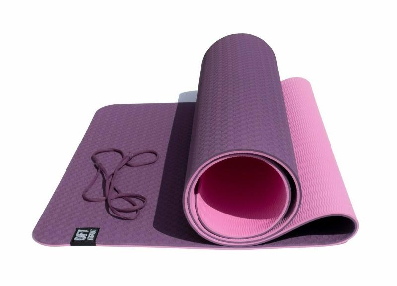 Коврик для йоги 6 мм двуслойный TPE бордово розовый Original FitTools FT-YGM6-2TPE-4