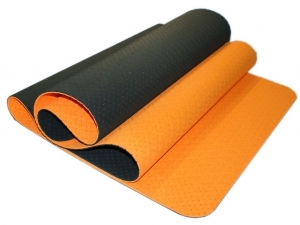 Коврик для йоги перфорированный 1800х600х0.5 мм. оранжево-чёрный