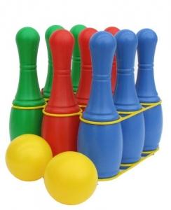 Кегли 27 см для детей 9 шт с 2-мя мячами 8 см и держателем