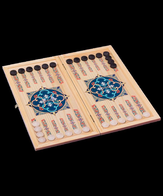 Нарды средние, с деревянными шашками, цветной рисунок , Colton