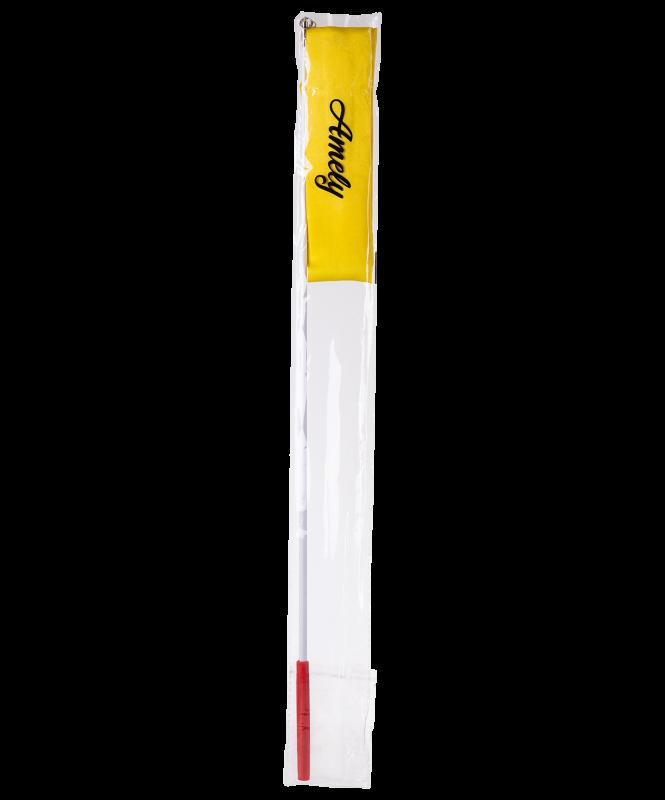 Лента для художественной гимнастики AGR-201 6м, с палочкой 56 см, желтый , Amely