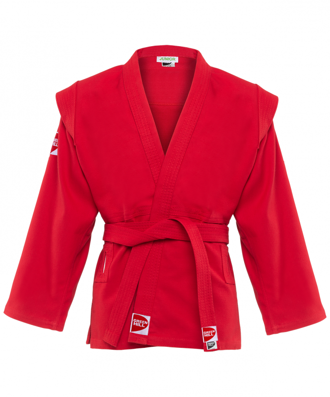 Куртка для самбо Junior SCJ-2201, красный, р.6/190, Green Hill