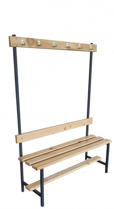 Скамейка с вешалкой для раздевалки (L=1500)