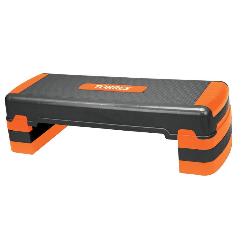 Степ-платформа TORRES арт.AL1023, три уровня, 90см*32см*15/20/25см, оранжево-черный