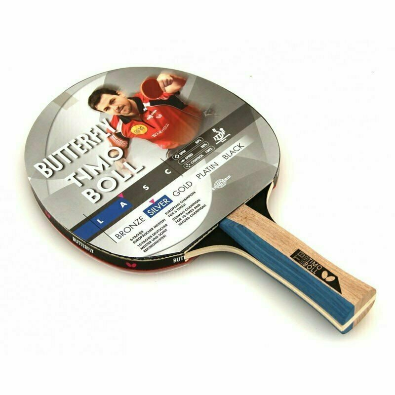 Ракетка для настольного тенниса Butterfly Timo Boll silver, для тренировок, накладка 1,5 мм ITTF, анатом./кон. ручка