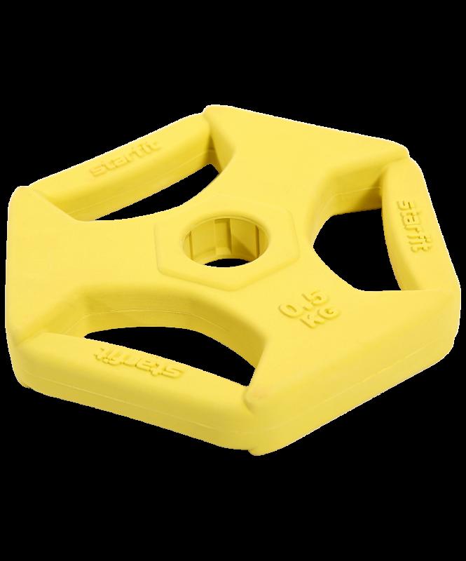 Диск обрезиненный с хватами BB-205 0,5 кг, d=26 мм, без стальной втулки, жёлтый, Starfit