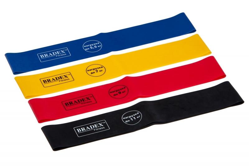 Набор из 4-х резинок для фитнеса Bradex SF 0672, нагрузка до 5,5/7/9/11 кг