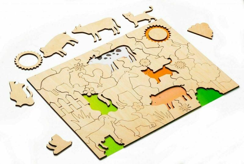 Развивающая деревянная мозаика-раскраска «ДОМАШНИЕ ЖИВОТНЫЕ» BRADEX DE 0422
