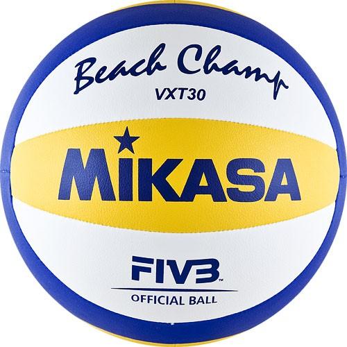 Мяч для пляжного волейбола  MIKASA VXT30 ,мягкая синтетическая кожа (ПУ),машинная сшивка ,10 пан, бутиловая камера ,нейлон.к,бел-син-желт